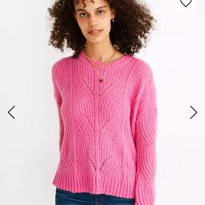 Madewell Pink Cable Knit Pullover Sweater Cropped Size Medium
